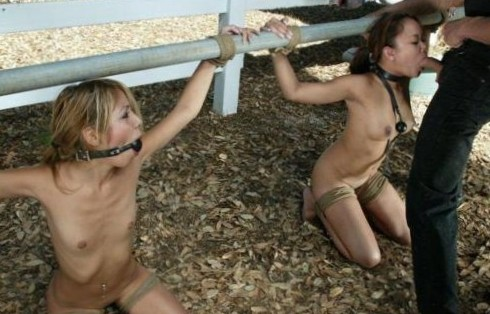 #cock #unf #gag #rope #tied #girls #public
