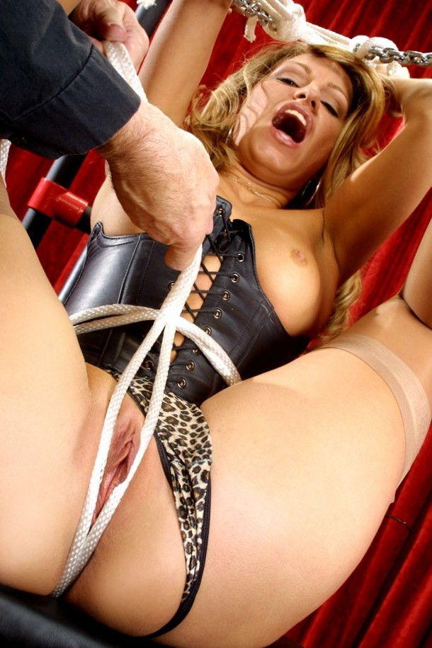 Sexy MILF pussy in rope bondage. Tormented by BDSM master